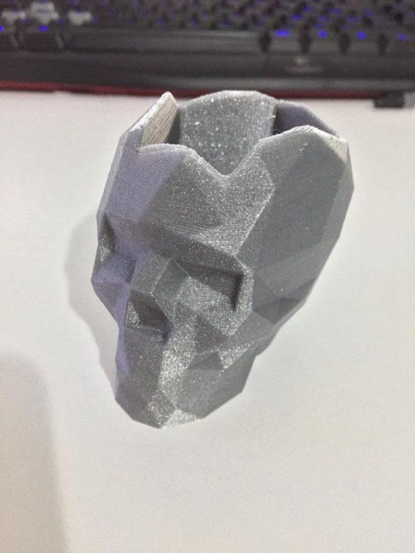 skull_argento_glittermake a shape realizzazione stampa 3d skull glitterato